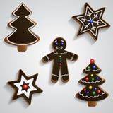 Chocolate ginger bread man tree and stars set Stock Photo