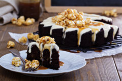 Chocolate ginger pear cake with cream cheese glaze Stock Photography