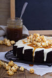 Chocolate ginger pear cake with cream cheese glaze Stock Images