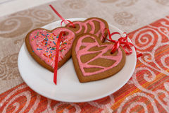 Chocolate gingerbread cookies heart shaped with red and pink icing on white plate Royalty Free Stock Image
