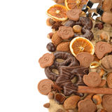 Chocolate gingerbread, cookies and nuts Royalty Free Stock Photo