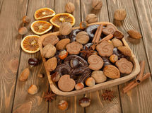 Chocolate gingerbread, cookies and nuts Stock Images