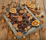 Chocolate gingerbread and nuts Stock Photo