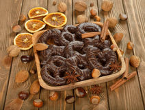 Chocolate gingerbread and nuts Royalty Free Stock Photos
