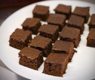 Chocolate gingerbread squares on the plate Stock Photography