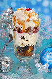 Chocolate gingerbread and whipped cream dessert for christmas Royalty Free Stock Photos
