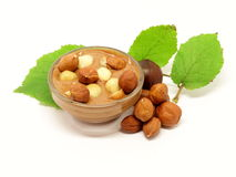Chocolate in glass bowl with hazelnuts and leafs Stock Image