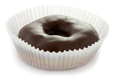Chocolate glazed donut. In white paper cup Stock Images