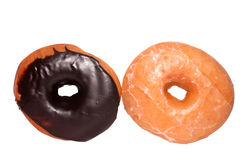 Chocolate and Glazed Donuts with Clipping Path Royalty Free Stock Photos