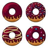 Chocolate glazed donuts set Royalty Free Stock Photos