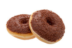 Chocolate glazed doughnut Stock Images