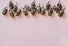 Chocolate glazed ice cream pops with pistachio icing, copy space