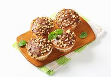 Chocolate glazed muffins Stock Images