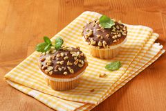 Chocolate glazed muffins Royalty Free Stock Photo