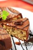 Chocolate glazed nut cake Stock Photography