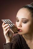Chocolate gluttony. Royalty Free Stock Images