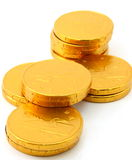 Chocolate gold coin stacks Royalty Free Stock Images