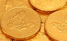 Chocolate Gold Coins Royalty Free Stock Photography