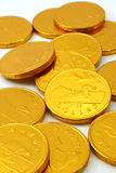 Chocolate gold coins, scattered Stock Photos