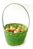 Chocolate golden easter egg in green basket Royalty Free Stock Image