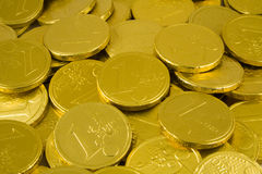 Chocolate Golden Euro Coins. Closeup of Chocolate Golden Euro Coins royalty free stock photo