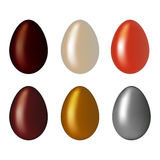 Chocolate, golden, silver Eggs isolated on a white background. Colorful natural ecological product. Healthy food. Easter symbol. vector illustration