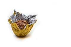 Chocolate in golden wrapping Stock Images