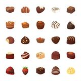 Assorted Chocolates Vector Icons Set royalty free illustration