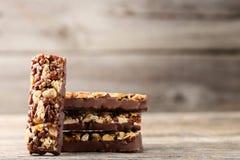 Chocolate granola bars Stock Photos