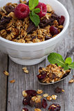 Chocolate granola for breakfast Stock Images
