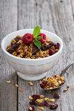 Chocolate granola for breakfast Royalty Free Stock Image
