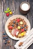 Chocolate granola and fresh berries Stock Photo
