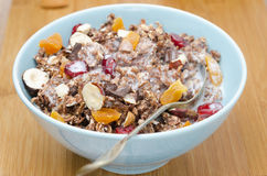 Chocolate granola with nuts, dried fruit and milk closeup Royalty Free Stock Photo