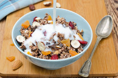 Chocolate granola with nuts and dried fruit and milk Stock Image