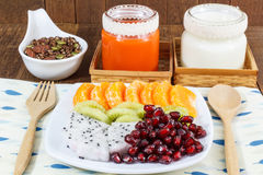 Chocolate Granola with nuts, mix fruits, Milk and Carrot juice. Homemade Chocolate Granola with nuts, mix fruits, Milk and Carrot juice, Healthy Breakfast Royalty Free Stock Image