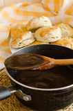 Chocolate gravy for biscuits Stock Photo