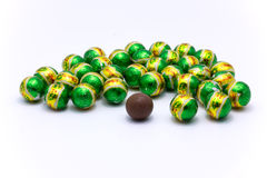 Chocolate green ball. Selective focus , some position to blurry , shallow depth of field Stock Image