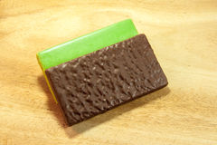 Chocolate and Green Tea Wafers stock photography