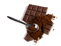 Chocolate and ground coffee Stock Photo