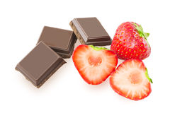 Chocolate and half strawberry Royalty Free Stock Image