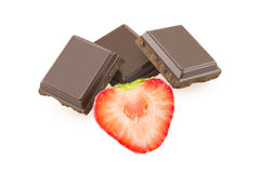 Chocolate and half strawberry Stock Photography
