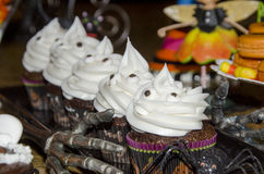 Chocolate halloween cupcakes Royalty Free Stock Images