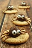 Chocolate Halloween spider cookies on rustic wood Stock Images