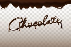Chocolate hand drawn 3D lettering design vector illustration. Liquid dark chocolate isolated on transparent background. For advertisement, poster, packaging Royalty Free Stock Image