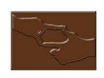 Chocolate hand shape frame in rectangle shape Stock Photography