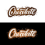 Chocolate hand written lettering with splashes and smudges. Dark chocolate isolated on background. Vector illustration Stock Photos