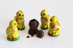 Chocolate hatchlings. Five chocolate chicken hatchlings, one of them decapitated stock photography
