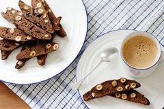 Chocolate and hazelnut biscotti Stock Image