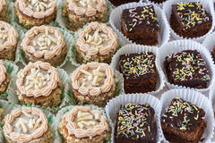 Chocolate and hazelnut cakes closeup. Stock Image