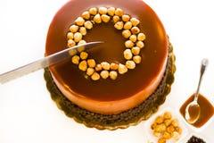 Chocolate, Hazelnut, and Caramel Cake Royalty Free Stock Image